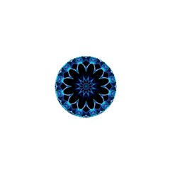 Crystal Star, Abstract Glowing Blue Mandala 1  Mini Button by DianeClancy