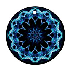 Crystal Star, Abstract Glowing Blue Mandala Round Ornament by DianeClancy