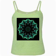 Crystal Star, Abstract Glowing Blue Mandala Green Spaghetti Tank by DianeClancy