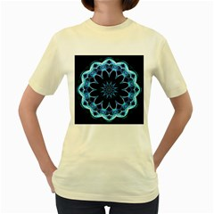 Crystal Star, Abstract Glowing Blue Mandala Women s T Shirt (yellow) by DianeClancy