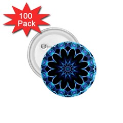 Crystal Star, Abstract Glowing Blue Mandala 1 75  Button (100 Pack) by DianeClancy
