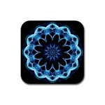 Crystal Star, Abstract Glowing Blue Mandala Drink Coasters 4 Pack (Square) Front