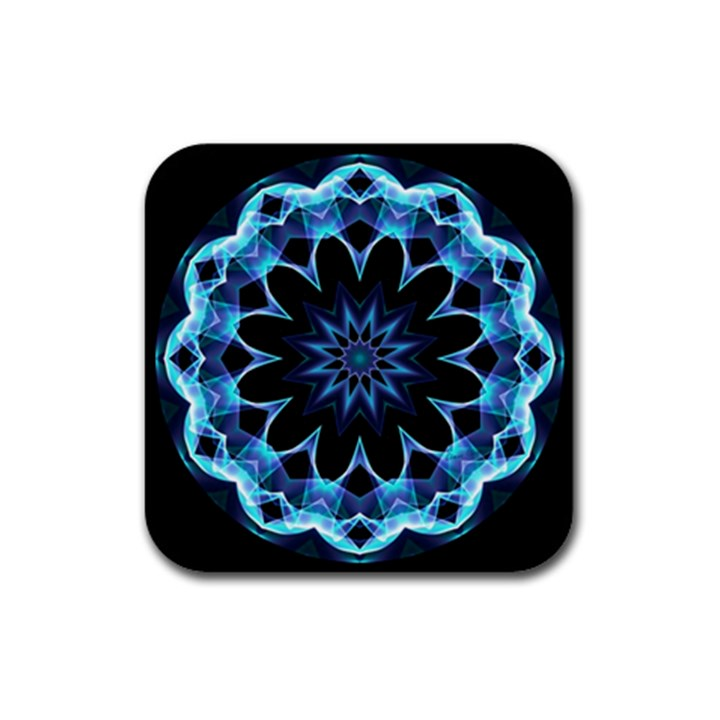 Crystal Star, Abstract Glowing Blue Mandala Drink Coasters 4 Pack (Square)