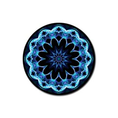 Crystal Star, Abstract Glowing Blue Mandala Drink Coaster (round) by DianeClancy