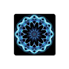 Crystal Star, Abstract Glowing Blue Mandala Magnet (square) by DianeClancy