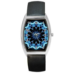 Crystal Star, Abstract Glowing Blue Mandala Tonneau Leather Watch by DianeClancy