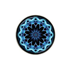 Crystal Star, Abstract Glowing Blue Mandala Golf Ball Marker 4 Pack (for Hat Clip) by DianeClancy