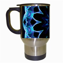 Crystal Star, Abstract Glowing Blue Mandala Travel Mug (white) by DianeClancy
