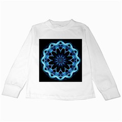 Crystal Star, Abstract Glowing Blue Mandala Kids Long Sleeve T Shirt by DianeClancy