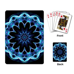 Crystal Star, Abstract Glowing Blue Mandala Playing Cards Single Design by DianeClancy
