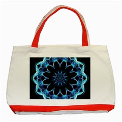 Crystal Star, Abstract Glowing Blue Mandala Classic Tote Bag (red) by DianeClancy