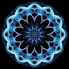 Crystal Star, Abstract Glowing Blue Mandala Canvas 12  X 12  (unframed) by DianeClancy