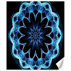 Crystal Star, Abstract Glowing Blue Mandala Canvas 20  X 24  (unframed) by DianeClancy