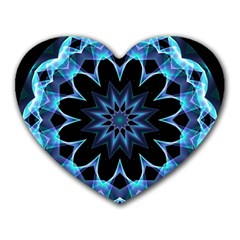 Crystal Star, Abstract Glowing Blue Mandala Mouse Pad (heart) by DianeClancy