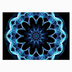 Crystal Star, Abstract Glowing Blue Mandala Glasses Cloth (large) by DianeClancy