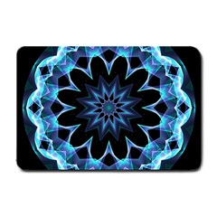 Crystal Star, Abstract Glowing Blue Mandala Small Door Mat by DianeClancy