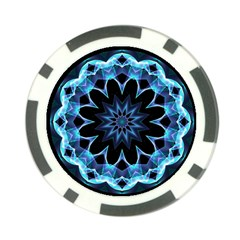 Crystal Star, Abstract Glowing Blue Mandala Poker Chip by DianeClancy