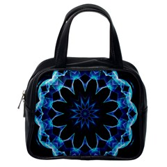 Crystal Star, Abstract Glowing Blue Mandala Classic Handbag (one Side) by DianeClancy