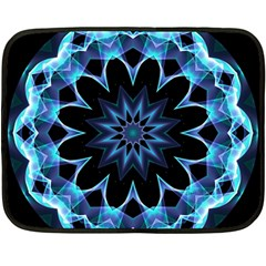 Crystal Star, Abstract Glowing Blue Mandala Mini Fleece Blanket (two Sided) by DianeClancy