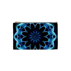 Crystal Star, Abstract Glowing Blue Mandala Cosmetic Bag (small) by DianeClancy