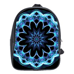 Crystal Star, Abstract Glowing Blue Mandala School Bag (large) by DianeClancy