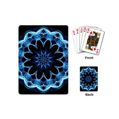 Crystal Star, Abstract Glowing Blue Mandala Playing Cards (mini) by DianeClancy