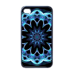 Crystal Star, Abstract Glowing Blue Mandala Apple Iphone 4 Case (black) by DianeClancy