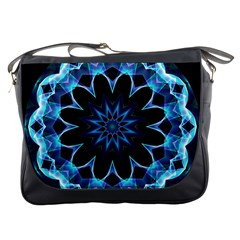 Crystal Star, Abstract Glowing Blue Mandala Messenger Bag by DianeClancy