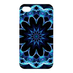 Crystal Star, Abstract Glowing Blue Mandala Apple Iphone 4/4s Premium Hardshell Case by DianeClancy