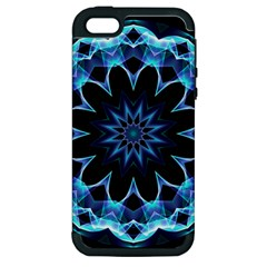 Crystal Star, Abstract Glowing Blue Mandala Apple Iphone 5 Hardshell Case (pc+silicone) by DianeClancy