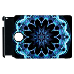 Crystal Star, Abstract Glowing Blue Mandala Apple Ipad 3/4 Flip 360 Case by DianeClancy