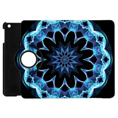 Crystal Star, Abstract Glowing Blue Mandala Apple Ipad Mini Flip 360 Case by DianeClancy