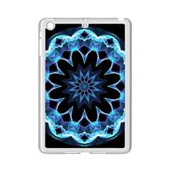 Crystal Star, Abstract Glowing Blue Mandala Apple Ipad Mini 2 Case (white) by DianeClancy
