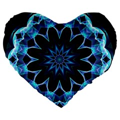 Crystal Star, Abstract Glowing Blue Mandala 19  Premium Heart Shape Cushion by DianeClancy
