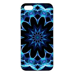 Crystal Star, Abstract Glowing Blue Mandala Apple Iphone 5 Premium Hardshell Case by DianeClancy