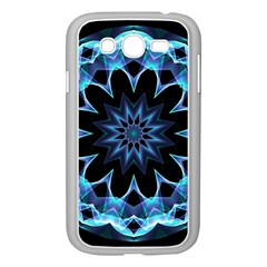 Crystal Star, Abstract Glowing Blue Mandala Samsung Galaxy Grand Duos I9082 Case (white) by DianeClancy