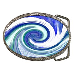 Abstract Waves Belt Buckle (oval) by Colorfulart23