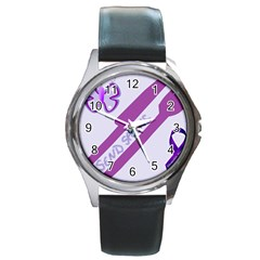 Send Spoons Round Leather Watch (silver Rim) by FunWithFibro