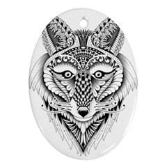 Ornate Foxy Wolf Oval Ornament