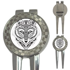 Ornate Foxy Wolf Golf Pitchfork & Ball Marker