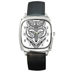 Ornate Foxy Wolf Square Leather Watch