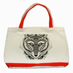 Ornate Foxy Wolf Classic Tote Bag (red) by Zandiepants