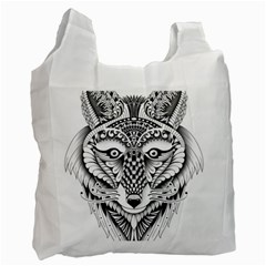 Ornate Foxy Wolf White Reusable Bag (one Side) by Zandiepants