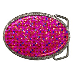 Polka Dot Sparkley Jewels 1 Belt Buckle (oval) by MedusArt