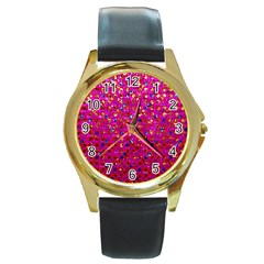 Polka Dot Sparkley Jewels 1 Round Leather Watch (gold Rim)  by MedusArt
