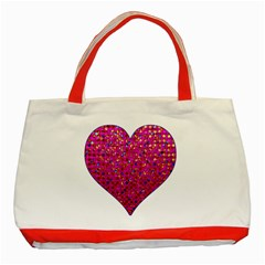 Polka Dot Sparkley Jewels 1 Classic Tote Bag (red) by MedusArt