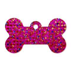 Polka Dot Sparkley Jewels 1 Dog Tag Bone (two Sided) by MedusArt