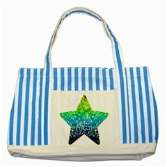 Glitter 4 Blue Striped Tote Bag by MedusArt