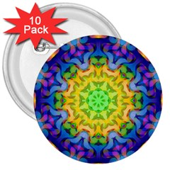 Psychedelic Abstract 3  Button (10 Pack)