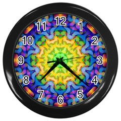 Psychedelic Abstract Wall Clock (black) by Colorfulplayground